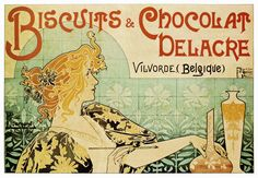 Biscuits & Chocolat Delacre Poster by Henri Privat Livemont - http://retrographik.com/biscuits-chocolat-delacre-poster-henri-privat-livemont/ - art nouveau, henri privat-livemont, vintage, wall art, Women