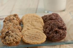 A trio of gluten free cookies, Chocolate Chip Caramel Oat, Peanut Butter and Chocolate Brownie Clusters.