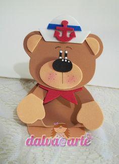 lembrancinha porta bombom ursinho marinh Ideas Para, Minnie Mouse, Teddy Bear, Baby Shower, Christmas Ornaments, Disney Characters, Holiday Decor, Cards, Handmade