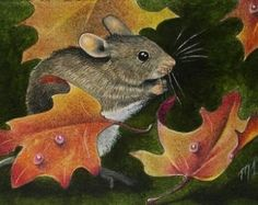 Fall Mouse Art by Melody Lea Lamb ACEO Print