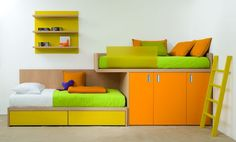 Ultra modern and ultra cool kids bedroom! Newer cooler twist on bunk beds.