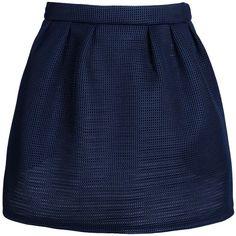 Maison Kitsuné Mini Skirt (€98) ❤ liked on Polyvore featuring skirts, mini skirts, bottoms, saias, jupes, dark blue, zipper skirt, dark blue skirt, short skirts and dark blue mini skirt
