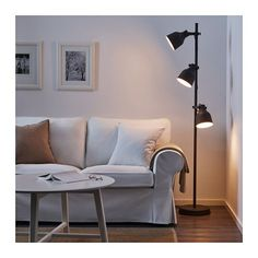 IKEA - BAROMETER, Floor/reading lamp with LED bulb, You can easily direct the light where you want it because the lamp arm and head are adjustable.Provides a directed light that is great for reading. Hektar Ikea, Ikea Floor Lamp, Floor Lamps, Ikea Lamp Table, Clear Light Bulbs, Old Lamps, Mid Century Lighting, Bedroom Lamps, Affordable Furniture