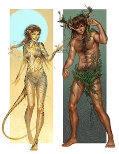 Commission: Wild Elves 1-2 by alexielart female druid cleric shifter tail horns antler forest guardian spirit satyr elf armor clothes clothing fashion player character npc | Create your own roleplaying game material w/ RPG Bard: www.rpgbard.com | Writing inspiration for Dungeons and Dragons DND D&D Pathfinder PFRPG Warhammer 40k Star Wars Shadowrun Call of Cthulhu Lord of the Rings LoTR + d20 fantasy science fiction scifi horror design | Not Trusty Sword art: click artwork for source