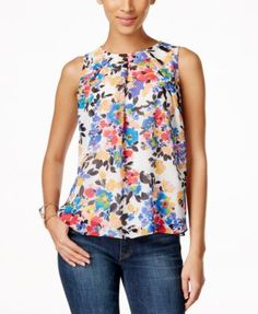 NY Collection Petite Floral-Print Lace-Back Top | macys.com