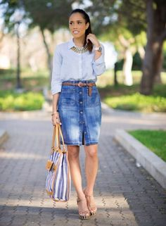 Denim skirt and chambray shirt