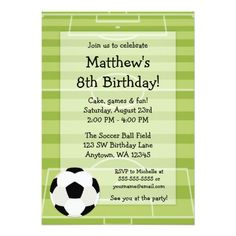 Shop Soccer Field Themed Bar Mitzvah Invitations created by printcreekstudio. Soccer Birthday Parties, Soccer Party, Soccer Ball, Soccer Theme, Bar Mitzvah Invitations, Kids Birthday Party Invitations, Invitation Paper, Invites, Invitation Design