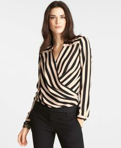 Ann Taylor: Camel & Black: Enjoy 40% off everything for Trends with Benefits (use code TRENDS40) - Striped Wrap Top