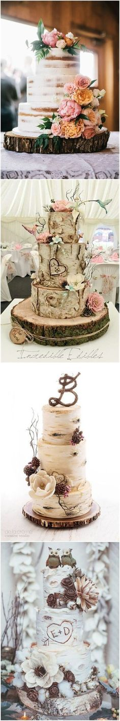Country Weddings » 20 Rustic Tree Stumps Wedding Cakes for Your Country Wedding » ❤️ See more: http://www.weddinginclude.com/2017/06/rustic-tree-stumps-wedding-cakes-for-your-country-wedding/ #rusticwedding