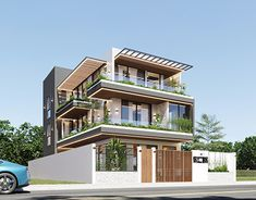 Modern Bungalow House Design, Modern Family House, Modern House Facades, Modern Exterior House Designs, Latest House Designs, Village House Design, House Front Design, Small Contemporary House Plans, Architect Design House