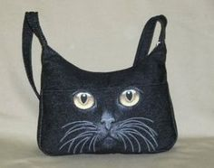 Jean purses made from jeans rita s handbags denim bags Tapestry, Leather and Denim bags of your favorite pet. this bag is Discussion on LiveInternet - Russian Service Online DiariesRita's Handbags - Handbags handmade in the USA Hand painted face on d Handmade Purses, Handmade Handbags, Denim Purse, Tote Purse, Tote Bags, Denim Handbags, Cat Bag, Denim Crafts, Recycled Denim