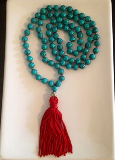 Turquoise Beaded Tassel Mala Style Necklace by TheArtsyNomad