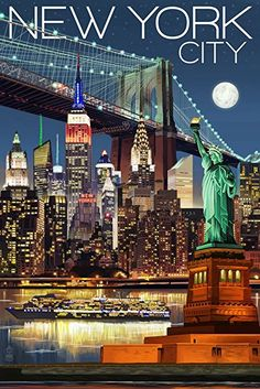 New York City, NY - Skyline at Night - Lantern Press Artwork Giclee Gallery Print, Wall Decor Travel Poster), Multi New York Poster, Retro Poster, Vintage Travel Posters, Ciudad New York, Ny Skyline, Night Skyline, New York City Ny, Photo Vintage, Empire State Building