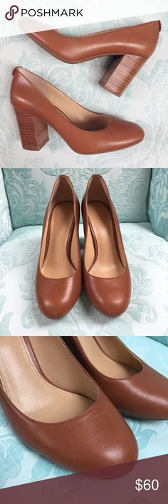 Michael Kors Brown Leather Stacked Heel Pumps NWOT Michael Kors classic tan/light brown leather pumps with almond-shaped toe. Thick stacked heel. Slight imperfection on right toe. Size 5.5, never worn! MICHAEL Michael Kors Shoes Heels