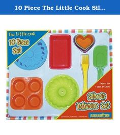 10 Piece The Little Cook Silicone Bakeware Set. 22225 Features: -Kit includes 4 heart-shaped cupcake/muffin cups, pastry scraper, loaf pan, bundt cake mold, mini-muffin pan, basting brush, and flower gelatin mold. -Kids will love to bake with our new silicone bakeware. -For ages 5 and up. -Dishwasher, microwave and freezer-safe. -The colors are bright, the shapes are fun and its flexibility makes removing little cakes a breeze. Product Type: -Baking set. Color: -Multi Colored. Number of...