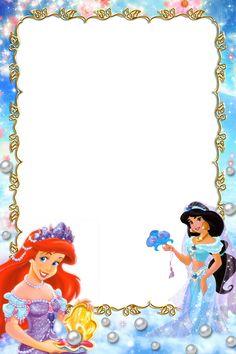 """Princesses"": ""When sea and sand meets - Ariel & Jasmine"", as courtesy of Walt Disney Boarder Designs, Page Borders Design, Scrapbook Journal, Journal Cards, Disney Princess Letter, Frames Png, Scrapbook Da Disney, Disney Frames, Boarders And Frames"