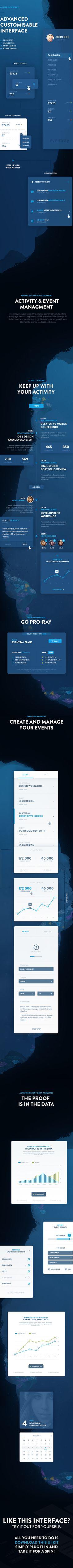 EventRay UI Kit - Free Download on Behance #dark