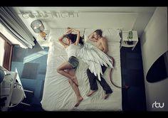 ~Angel & Demon~ Interesting photo by Robert Loü. Judement is your own.