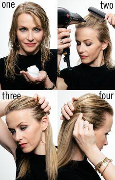 Hair how-to: slicked back and shiny locks