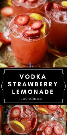 Everyone's favorite Summer cocktail and it's so easy! Vodka Strawberry Lemonade, Lemonade Cocktail, Cocktail Drinks, Fun Drinks, Vodka Cocktails, Strawberry Cocktails, Cherry Vodka, Liquor Drinks, Party Drinks