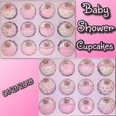 Baby shower cupcakes.  Chocolate & vanilla w/frosting, bead & fondant decorations #babyshower #babyshowergirl #cupcakes