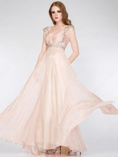 A-line Chiffon V-neck Ruffles Floor-length Formal Dresses