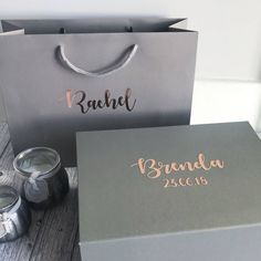 Bridesmaid gift box and bag set grey and rose gold or silver. Will you be my bridesmaid maid of honour wedding favour thank you gift