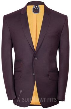 Distinguished Two Piece Maroon Suit with a Paraquette Lining.