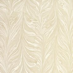 Ebru Striped Wallpaper striped marble wallpaper using both mica and matte inks in silver and gold on a white paper to form a metallic quality. The design uses an elegant marbling technique used for endpapers.