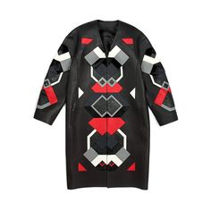 Black And Poppy Leather Patchwork Coat ($16,900) ❤ liked on Polyvore featuring outerwear, coats, loewe, leather, modaoperandi, black, leather coat, real leather coats, black coat and genuine leather coat