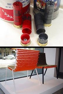shot gun shell chairs - fun idea for outdoor chairs Recycled Art Projects, Recycled Furniture, Shotgun Shell Art, Shotgun Shells, Whiskey House, Redneck Crafts, Bullet Crafts, Repurposed Items, Tree Art