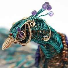 Peacock - Gemma Crow intricate wire jewellery  ( jewelry) with gemstones