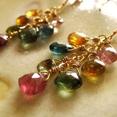 Tourmaline briolette and gold filled dangle earrings  by kahilicreations, via Flickr