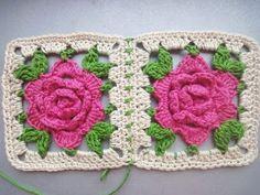 РОЗА в квадрате ROSE squared Crochet - YouTube