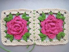 РОЗА в квадрате ROSE squared Crochet - YouTube