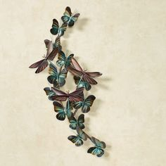 Winged Flight Dragonfly Butterfly Metal Wall Sculpture