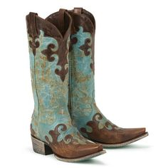 """Turquoise Cowboy Boots by: """"Lane"""" Love these boots! Great condition! Only worn 2x. Selling because they don't match my wardrobe anymore. Great boots and gorgeous color. Only worn inside (I only wore them to work haha)..A slight scuff mark on right toe (shown in pics)..natural factory distressing and coloring. Size 5 1/2 Lane Shoes"""