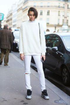 6bfdd9b0e1 What Wear - Model Leona Binx Walton Wear Them With  Fuzzy Sweater + Sneakers