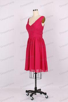 Red V Neck Chiffon Bridesmaid Dress/Simple Short by DressHome