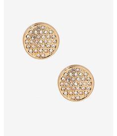 Pave Circle Stud Earrings  Women's