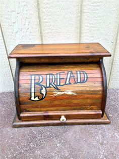 Vintage Wood Roll Top Bread Box - Kitchen Storage - Rustic Decor By Knock On…
