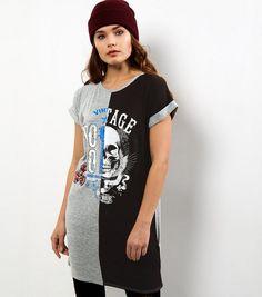 Cameo Rose Black Spliced T-Shirt Dress | New Look