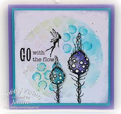 Card features Lavinia Stamps' Moon Pods SKU 597779 and Dancing Fairies SKU 636858, available at www.addictedtorubberstamps.com Card found on Jenine's Card Ideas.