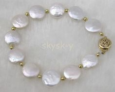 "Fashion Handmade Natural White 11-13Mm Coin Freshwater Pearl Bracelet 8""Aaa"