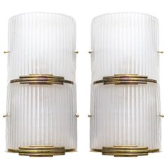 Brass and Murano Glass Sconces
