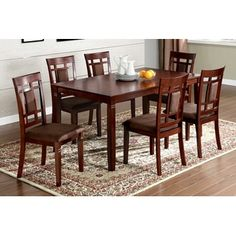 6-top dining set with upholstered seats, cherry finish