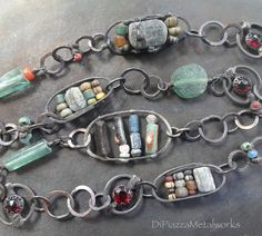Ancient glass Czech glass abacus link chain by DiPiazzaMetalworks