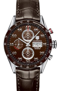 TAG Heuer 'Carrera' Automatic Tachymeter Watch in Brown with Alligator Leather Strap
