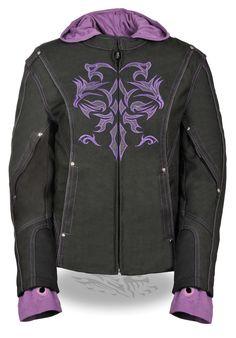 Ladies 3/4 Purple Jacket w/ Reflective Tribal Detail