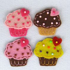 Handmade ASSORTED felt cupcake appliques  set by aprilgirlsgallery, $16.80